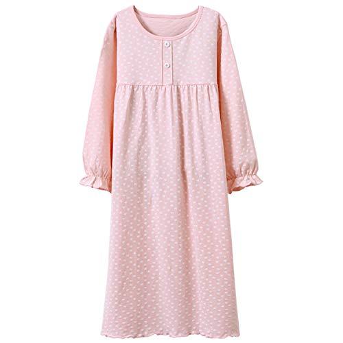 Prinzessin Nachthemden für Mädchen Langarm Kinder Schlafanzüge Rundkragen Rosa Gepunktet 5 Jahre