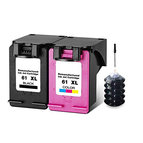 GYBN Grote capaciteit kleureninktcartridge, voor HP 61XL inktcartridge, voor hp 1011 inktcartridge, voor HP 1511 2510 2540 3510 2620 envy4500 4630 printer zwarte inktcartridge, 2-set, Kleur