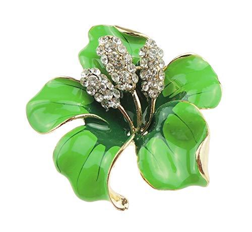 Glamour Girlz Elegante broche de flor de lirio de orquídea esmaltada 5 cm (verde lima)