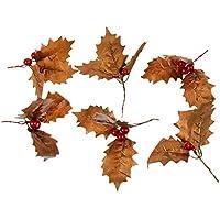 ABOOFAN 6Pcsクリスマスヒイラギは工芸品の花輪の花輪の木の装飾のための赤い果実のクリスマスの枝と人工の葉を残します