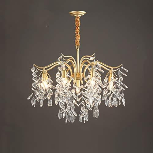 Z-W-DONG Kristallen plafondlamp, Home Decoration Stairway Kroonluchter Metal antitrust plafondlamp 4/7/9 Head E14 Pendant Lighting Bevestiging Licht (Color : Gold, Size : 80 * 52CM)