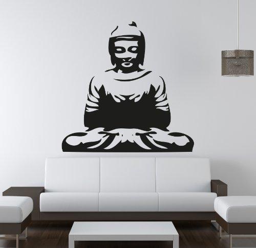 Adesiviamo Buda Spirit M Pegatina Mural, PVC, Negro, 40x 40cm