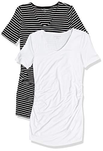 Amazon Essentials Camiseta Cuello en V y Manga Corta. Fashion-Maternity-t-Shirts, Rayas Finas Negro/Blanco, L