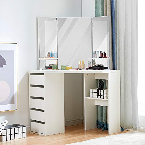 Corner Vanity Table L-Shaped Dresser Desk with 3-Fold Mirrors Makeup Desk with Large Drawer Storage Cabinet Vanity for Bedroom Bathroom, White