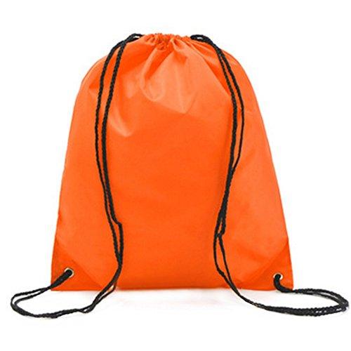 Gespout Sac à Dos Imperméable Tissu Oxford Poche à Cordon Sports de Plein air Voyager 34 * 39cm (Orange)