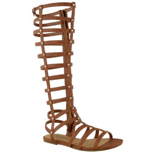 Mujer Corte Sandalias Estilo Gladiador Plano Rodilla Botas Tiras Talla