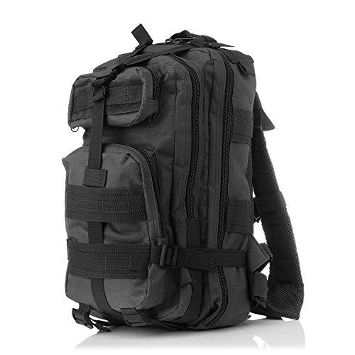 Minetom 35L Zaino Ciclismo Campeggio Viaggio Pack Trekking Escursionismo Montagna Alpinismo Tactical Backpack Bag Impermeabile Nero One Size(25*25*44 Cm)
