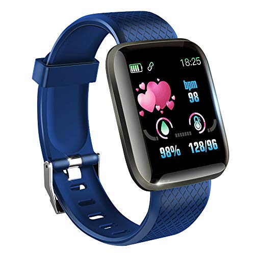 KawKaw Smartwatch mit Pulsmesser & Schrittzähler für Damen und Herren - Integrierter Kalorienzähler & Activity Tracker Blutdruckmesser - Smart Watch Armband Uhr für Sport und Fitness (Blau)