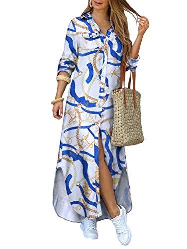 Onsoyours Damen Blusenkleid Elegant V-Ausschnitt Langarmshirt Hemdkleid Einfarbig Druck Lang Kleid Mit Knopf Shirtkleid Maxikleid Strandkleid Boho Sommerkleid B Weiß L