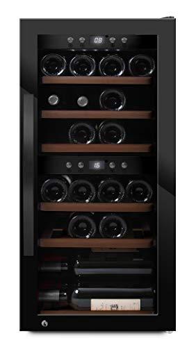 mQuvee Weinkühlschrank Freistehend, WineExpert 24 Fullglass Black, Platz für bis zu 24 Flaschen, 2 Temperaturzonen 5-20°C, Höhe 88 cm