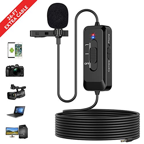 Professional Lavalier Lapel Microphone with Noise Cancelling for iPhone PC Android Camera DV, Omnidirectional Condenser Clip-on Lapel Mic for Interview/Recording/YouTube/Vlog, Support USB Charging