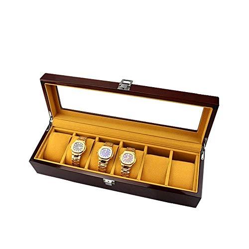 Suytan Caja de Alenamiento de Reloj con Cerradura Ranurada Caja de Alenamiento de Joyería de Reloj Caja de Presentación de Reloj de Madera Pintada con Cubierta de Vidrio Caja de Reloj con Tapa de Vid
