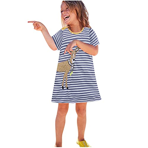 WOYAOFEI Mädchen Ringel Sommerkleid Kleid, Tierdruckkleid Gestreiftes Kleid mit kurzen Ärmeln für Mädchen Kurzärmliges bedrucktes Kinderkleid im europäischen und amerikanischen Stil
