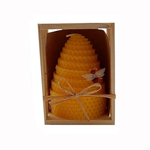 Green Pastures Wholesale Beeswax Yellow Honeycomb Shaped Pillar Candle, 3 by 4-Inch