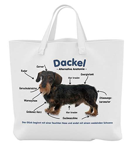 Merchandise for Fans Einkaufstasche - 38 x 42 cm, 8 Liter - Motiv: Dackel/Teckel/Dachshund Alternative Anatomie - 01