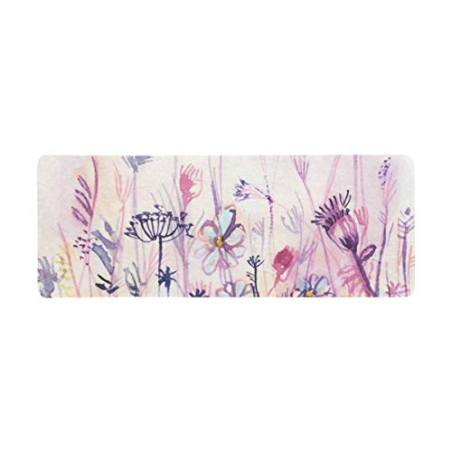 InterestPrint Soft Extra Extended Large Gaming Mouse Pad with Stitched Edges, Desk Pad Keyboard Mat, Non-Slip Base for Office & Home, 31.5 x 12In - Watercolor Overgrown of Blue and Pink Flowers