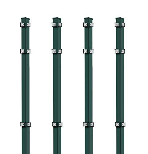 Koll Living 4X Eckpfosten, 40x40x2600 mm, grün - Eckpfosten für Ein- & Doppelstabmatten - inkl. Befestigung - Zaunhöhe: 200-203 cm - und Abdeckkappen - verzinkter Stahl mit Pulverbeschichtung
