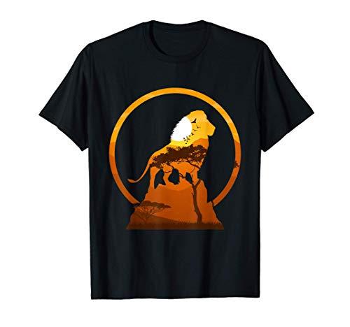 Löwensafari Tour Wildlife Tier König Afrika Sonnenuntergang T-Shirt