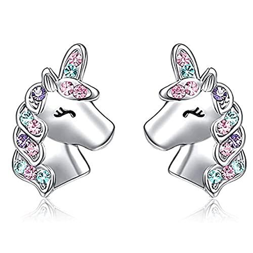 Pendientes de botón de unicornio de plata para niñas pequeñas Unicornio hipoalergénico Regalos encantadores para la fiesta de cumpleaños de la hija