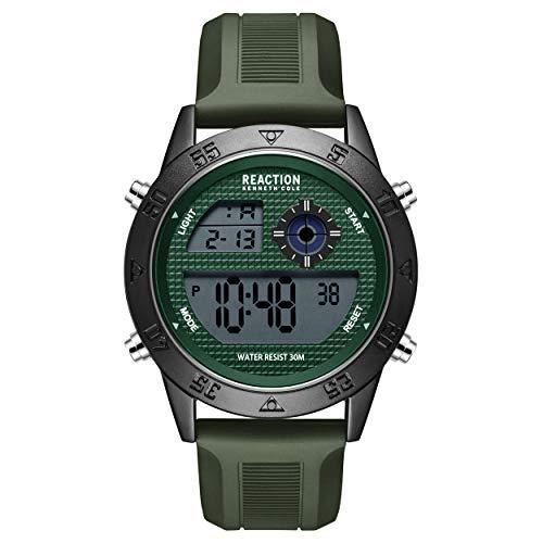 Kenneth Cole - Reloj deportivo de cuarzo para hombre, correa de silicona, color verde, 24 (modelo: RK51107001)
