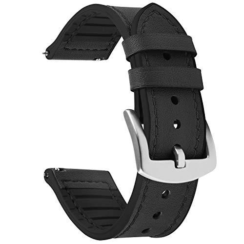 Fullmosa Uhrenarmband 20mm, Leder- und Silikonarmband, Smartwatch Armband für Samsung Galaxy Watch/Huawei Watch/Garmin Forerunner/Amazfit, 20mm Schwarz + Silberne Schnalle