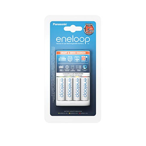 Panasonic eneloop, Ready-to-Use NI-MH Akku, AA Mignon, 8er Pack, Storage Case & Intelligentes Schnellladegerät, inklusive 4X eneloop, AA Mignon, weiß