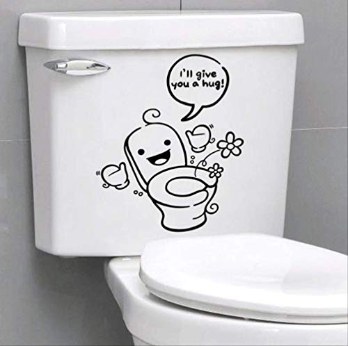 Toilet Stickers Ik geef U Een Knuffel Citaten Vinyl Decals Cartoon Home Decoratie DIY Mural Art Zwart