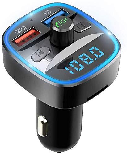 【Nuevo Versión】Transmisor FM Bluetooth V5.0, MyDear Qc3.0 Manos Libres para Coche, Inalámbrico Reproductor MP3 Mechero Coche Adaptador Receptor, Cargador de Coche con Dual USB 5V/2.4A & 1A, Adaptador de Radio Reproductor de Música con LED Soporte Tarjetas SD, USB, y Flash Drive