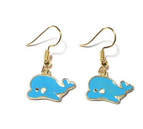 FizzyButton Gifts Drop Oorbellen met vergulde oordraden en blauwe emaille bedeltjes in de vorm van walvis, met turquoise geschenkdoos