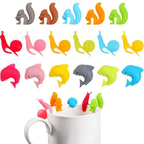36 Soportes de Bolsa de Té Colgante Lindo de Bolsa de Té de Silicona Clips de Bolsa de Té Colorida Soporte en Forma de Animal para Copa y Marcadores de Taza Forma de Tiburón Ardilla Caracol