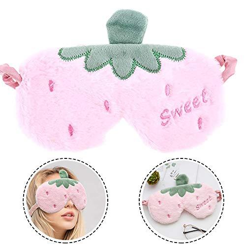 Schlafen Augenabdeckung, NALCY Schlafmaske Augenklappe, süße Schlafmaske Cartoon-Maske Plüsch Obst Augenmaske für Schlafen Reisen für Erwachsene Kinder (Erdbeere)