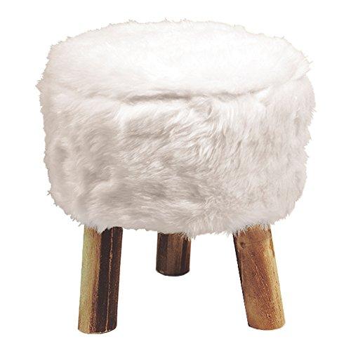 douceur d'intérieur tabouret diamètre 32 cm x hauteur 36 cm imitation fourrure yeti blanc