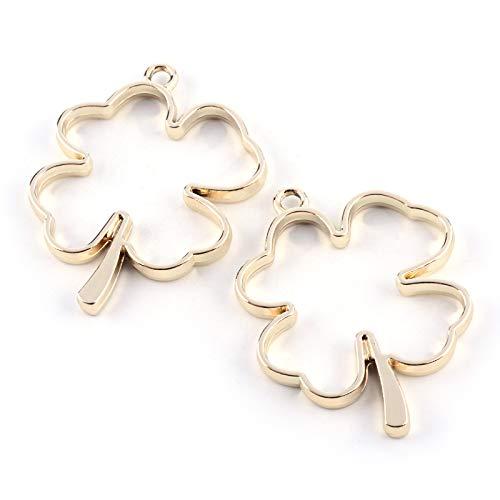 Cheriswely, 10 ciondoli a forma di quadrifoglio irlandese, con ciondolo a forma di fiore pressato in resina epossidica fai da te per creare gioielli, orecchini, collane, orecchini dorati