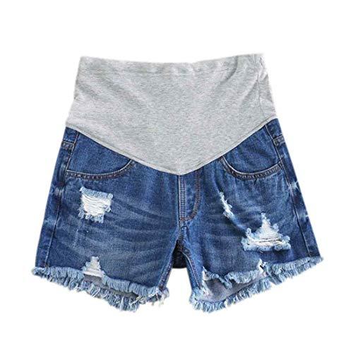 Inlefen Donne Pantaloncini di Jeans in maternità Pantaloncini da Salotto Gravidanza Corto Pantaloni Regolabile Over Bump Pantaloni Jeans