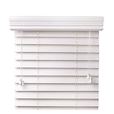 Arlo Blinds, Snow White 2-Inches Faux Wood Horizontal Blind - Size: 34  W x 60  H