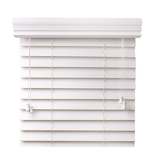 """Cordless Blinds Snow White 2-Inches Faux Wood Horizontal Blinds - Size: 57 5/8"""" W x 68"""" H"""