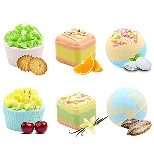 Cigopx Juego de 6 bombas de baño para regalo, cupcakes vívidos, trufas, bolas de espolvorear, spa, baño, fizzies, juego de bolas de colores, sal marina orgánica, baño de burbujas, piel, alivio de la