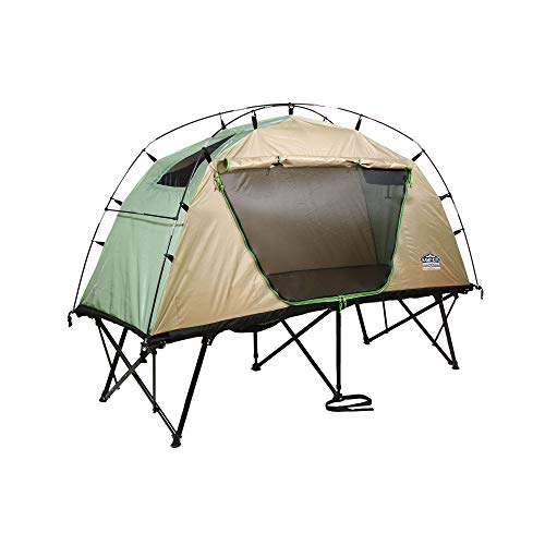 Kamp-Rite CTC Standard Compact Collapsible Portable Lightweight Outdoor Elevated Backpacking Camping Tent Cot, Green and Tan