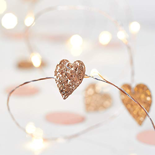 Lights4fun Gold Glitter Love Heart String Lights 20 Warm White Micro LEDs Battery Timer 1.9m Indoor Use
