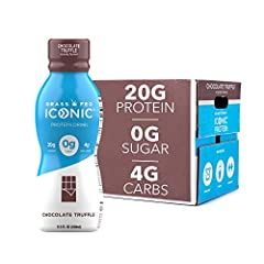 HIGH QUALITY, TRULY GRASS FED PROTEIN DRINKS: each ICONIC protein shake boasts 20 grams of complete protein from grass fed whey and casein to fill you up without slowing you down KETO FRIENDLY PROTEIN SHAKE: with 3g sugar, 4g fiber, 4g net carbs and ...