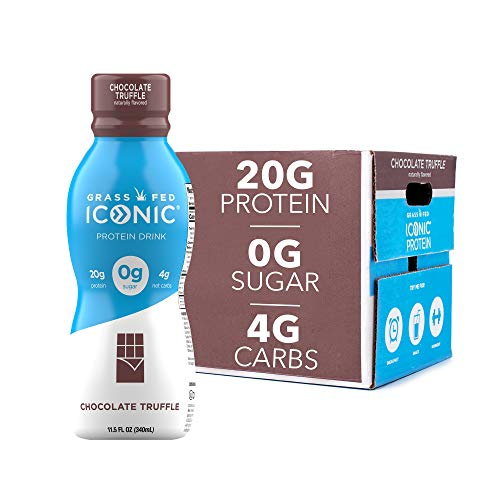 Iconic Protein Drinks Chocolate Truffle 12 Pack | Low Carb Protein Shakes | Grass Fed Lactose Free Gluten Free NonGMO Kosher | High Protein Drink | Keto Friendly