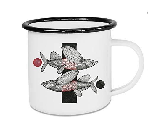 Ligarti Emaille Tasse | handveredelter Becher | Design Mug | XXL Tasse | Fliegende Fische