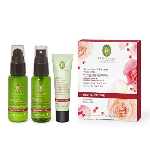 PRIMAVERA Kennenlern- & Reiseset Revitalpflege Rose Granatapfel - Geschenkbox Reinigungsmilch, Gesichtswasser, Creme - Naturkosmetik - reife Haut - vegan
