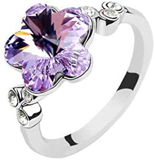 Robella Swarovski Elements Ring Encrusted With Purple Swarovski Crystals ROB-042 Size 6