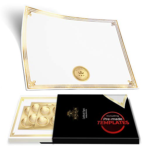 100 Professional Award Certificate Paper 8.5 x 11 with Seals, Gold Foil Border, Blank. Laser, Inkjet Printable