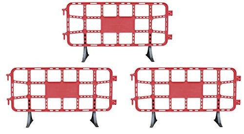 Valla de plástico obra peatonal en color rojo, valla reforzada con patas extraíbles de 2 metros (3- Vallas rojas)