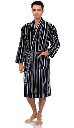 TowelSelections Men's Kimono Robe, Soft Cotton Luxury Bathrobe Medium/Large Dark Blue-Stripes