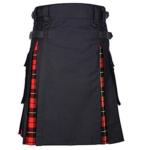 Kilt Rock Scottish Mens Kilt Traditioneller Plaidgürtel Plissee Bilaterale Kette Braun Gothic Punk Scottish Tartan Hosenrock New Asiansizexl Reda