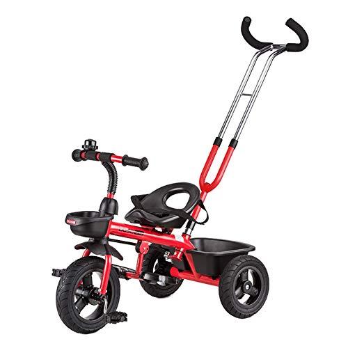 TCYLZ kinderwagen Baby driewieler met drukknop, kinderfiets carts, leren fiets, opvouwbaar pedaal, voorwiel koppeling, voor 1-5 jaar oud