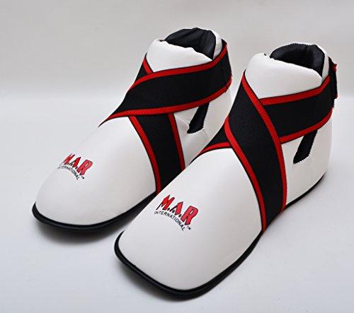 M.A.R International Ltd. Halbkontakt-Fußschutz für Kampfsport, Karate, Taekwondo, Boxen, Kickboxen, Thaiboxen, MMA, Muay Thai, Weiß, Größe M